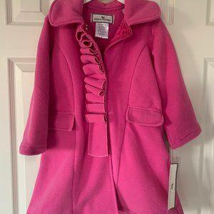 Adorable girls 6/7 fleece coat w ruffles & hat